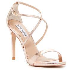 Image of Steve Madden Floriaa Heel Sandal Gold Strappy Sandals, White Strappy Sandals, Strap Sandals, Strap Heels, Rose Gold Shoes, Silver Heels, Open Toe Shoes, Open Toe Sandals, Heeled Sandals