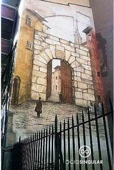 """Puertas históricas (II) Puerta del Sol """"La Portaza"""" derribada en 1868. Pintada para su recuerdo en 2008 Arte Urbano entre Coso y Paseo Echegaray."""