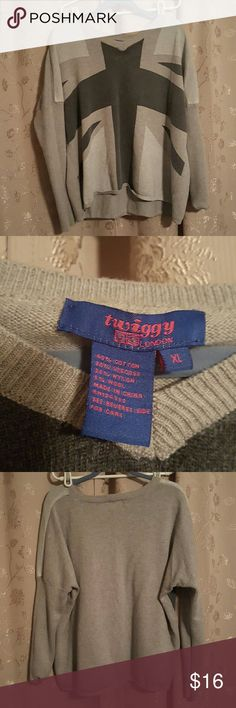 Twiggy  sweater Grey Union Jack  sweater very boxy gently  used there is one imperfection  in the dye last picture hard to notice very trendy great with leggings and  tall boots Twiggy Sweaters V-Necks
