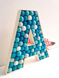 Kids Room Letter A. Felt Ball Letter. Wall Letter. Free standing Letter. Custom Letter. Monogrammed Initial. Baby Shower decor
