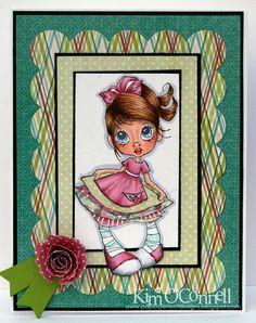 """Paper Perfect Designs by Kim O'Connell: Saturated Canary """"Thank You"""" --  skin - E11, E21, E00, E000, R20, R30  hair- E37, E35, E53, E51  eyes - B26, B23, B21  clothing - R85, R83,R81, C2, C1, BG11,BG10"""