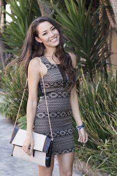 Tribal Print Sleeveless Bodycon Dress #mesh #sexydress #minidress #fitted #ustrendy