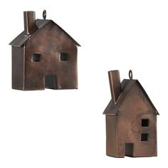 "Tin House Ornaments - charming houses welcome the season in antiqued iron, trimming the tree with a touch of nostalgia. 2.5""Wx1.75""Dx3""H. (9.95 set of 2)"