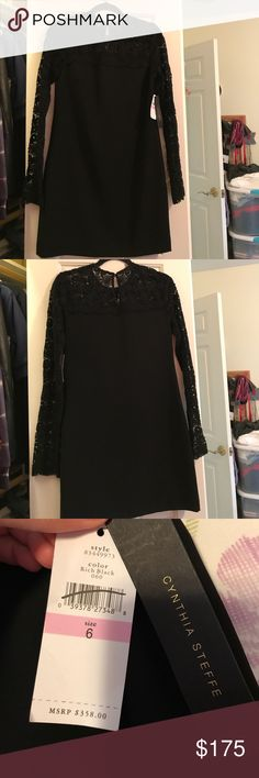 Cynthia Steffe black long lace sleeves dress, NWT! Gorgeous Cynthia Steffe dress from Nordstrom. New with tags attached. Perfect for any occasion, with gorgeous lace detailing Cynthia Steffe Dresses