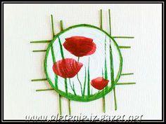 """Pannelli a muro """"Red Poppies"""".  Tecnica - decoupage attraverso tubi da giornale"""
