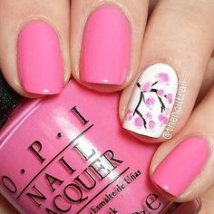 Pink-Spring-Cherry-Blossom-Nail-Design-For-Short-Nails Pretty Pink Nail Art Designs Fancy Nails, Love Nails, Trendy Nails, My Nails, Nails 2017, Sparkle Nails, Pink Nail Art, Cute Nail Art, Easy Nail Art