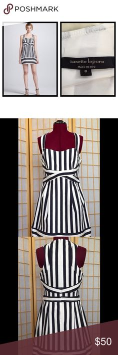 """SALE Nanette Lepore Waterfront Dress Striped twill fabric with Sweetheart neckline. Fully lined. 35.5"""" long. Made in USA.  Worn but in very good condition. Nanette Lepore Dresses Midi"""