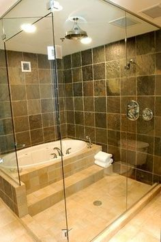"""Tub in shower-kids can splash and swim as much as they want! This is a brilliant idea for adults too. Whenever I take a bubble bath I end up wanting to shower off at the end. This way you can just step out of the tub and shower off.---- genius. If I ever build a house it will have this."""