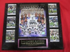 """Baltimore Ravens Super Bowl XLVII Champions 6 Card Collector Plaque w/8x10 Photo by J & C Baseball Clubhouse. $54.99. 6 Officially Licensed Cards. 8""""x10"""" Officially Licensed Photo. This 6 card collectors plaque measures 15""""x18"""" and includes a fully licensed 8""""x10"""" photo that IS REMOVEABLE and 6 cards. A GREAT ITEM for any sports fan!"""