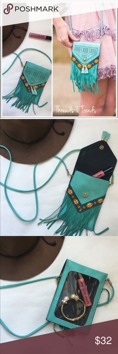 Mini Cross Body Boho Bag Boho mini cross body vegan leather shoulder bag. Featuring tassel & fringe detailing. Colors of turquoise with boho embroidered detail. Clear plastic back showing the inside & detachable strap. Neon Threads & Trends Bags Crossbody Bags