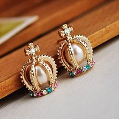 Exquisite Style Rhinestone Inlaid Faux Pearl Embellished Crown Shape Women's Earrings