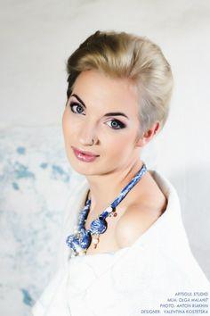 """Vest """"Blizzard"""" Necklace """"Blue frost"""" Wool, silk. Handmade. Designer Valentina Kostetska kostetska.com"""