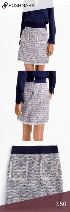 J. Crew Tweed Skirt Grab this J. Crew knit tweed skirt and pair with your favorite silk blouse to rule the office! It is professional, yet the fringe detail on the hem and navy waist band add extra details. There is a silver exposed zipper in the back! Lots of colors in this tweed- works with all nuetrals. Pair with my matching jacket! Worn only one time- so it's in mint condition! J. Crew Skirts