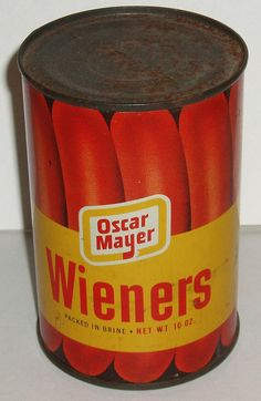 Oscar Mayer canned weiners. Things that make you go hmmmmmmm. Gross Food, Weird Food, Creepy Food, Vintage Tins, Vintage Labels, Vintage Food, Vintage Newspaper, Retro Recipes, Vintage Recipes