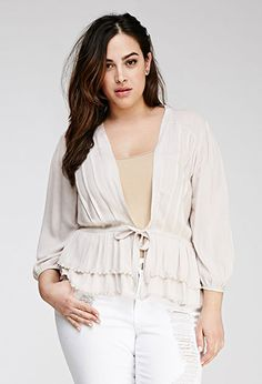Tiered Tie-Front Cardigan   FOREVER21 PLUS - 2000116981