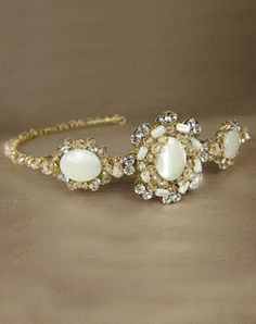 vintage accessory with swarovski crystals and mother of pearl - drool