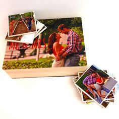 Personalized Photo Wood box and Ceramic Photo coasters set of 6 Best bridal shower gift, graduation present or anniversary gift