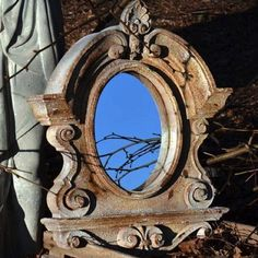 Ornate French Oval Window Mirror