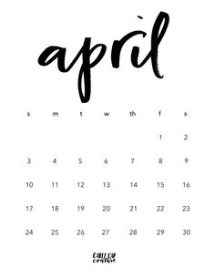 Download your free April Brush Calligraphy Calendar!