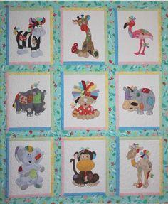 cute quilt of patchwork/applique animals Quilt Baby, Cot Quilt, Baby Quilt Patterns, Applique Patterns, Applique Quilts, Quilting Projects, Quilting Designs, Animal Quilts, Custom Quilts