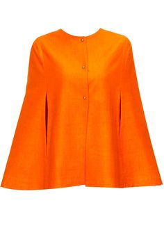 Orange pure cashmere embroidered cape  by Kukoon. Shop now: www.perniaspopups.... #cape #clothing #kukoon #chic #perniaspopupshop #shopnow #happyshopping