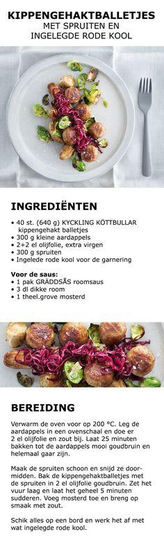 Inspiratie voor Midsommar - Kippengehaktballetjes met spruiten en ingelegde rode…