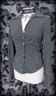 Black Cream Striped Button Up Top 10 Steampunk Governess Office Corporate Goth | THE WILTED ROSE GARDEN on eBay // Worldwide Shipping Available