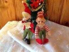 Antique Christmas Elf Pixies Knee Hugger & Caroler Ornaments Decorations.