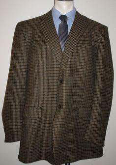 Men's Jos A Banks Brown Houndstooth Sport Coat Blazer 48 X-Long - 100% Wool #JosABank #TwoButton