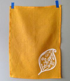 Mustard Yellow Linen Tea Towel Be Happy by SweetnatureDesigns