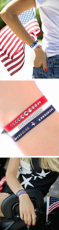 Make it a chic July 4 with our 2016 Patriotic Sparkle Set - ships for free in a deluxe gift box! Featuring: Glam 6 in Red, Width: 6mm. 2 Rows in White, Width: 4mm. Little Star in Navy, Width: 6mm. Made by hand in our Paris atelier with genuine Swarovski® crystals and couture-quality satin ribbon. Adjustable and water-resistant.