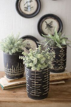 Black and White Clay Planters with Tribal Pattern, Set of 3