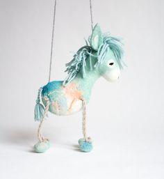 Felted toy Dennis Marionette. Felt Donkey by TwoSadDonkeys