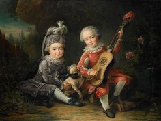 Portrait of Armand Louis II and Armand Louis Jean, the sons of Armand Louis I de Béthune, playing with a pug and a guitar.  1761