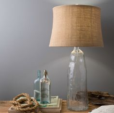 Clear Wavy Recycled Glass Lamp with Burlap Shade