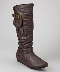 Take a look at this Carrini Brown Pocket Wedge Boot on zulily today!