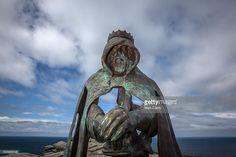 The new 'Gallos' sculpture that has been erected at Tintagel Castle is seen in Tintagel on April 28, 2016 in Cornwall, England. The English Heritage managed site and the nearby town have long been associated with the legend of King Arthur and continue to attract large visitor numbers. However, efforts by English Heritage to update the visitor experience with the Gallos sculpture, along with a rock carving of Merlin's face, which English Heritage say are inspired by the legend of King Arthur…