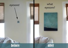 Conceal a thermostat or security system by hanging a canvas wall art piece on hinges. | 37 Ways To Disguise The Ugliest Parts Of Your Home