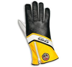 The Spidi Replica 77 glove.   An exact replica of the original used by many World Champions in 70's and 80's. Replica 77 Glove is made of exclusive, fine Metis leather which is soft, smooth, resistant and transpiring. The Black/Yellow version has been used by Kenny Roberts on Yamaha YZR500. Still handcrafted in Italy by the same expert hands, it's available in a limited edition only at www.replica77.com