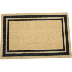 Border Frame 24x36 Inch Printed Coir Doormat, White