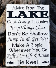 Advice From A Lake Sign, Lake House Decor Lakeside Living Life Wall Art, Inspirational Unique Wooden Signs, Lakeside Life Quote Poem