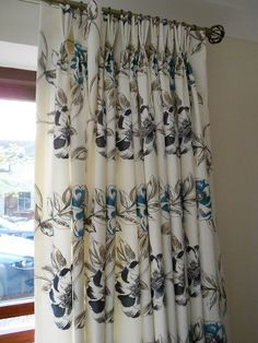 Beautiful embroidered curtains made by Sew Amazing in our Couture fabric in colourway Breeze