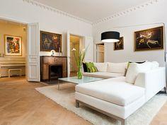 White sofa and black lamp shade