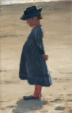 Peder Severin Kroyer -  Little girl standing on Skagen's southern Beach  1884 Medium Oil on wood