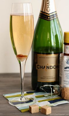 A classic and easy champagne cocktail recipe - 1 sugar cube (brown or white)  5-6 drops of Angostura bitters  Brut (dry) Champagne or sparkling wine