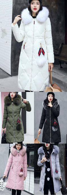 Women's Down Coat,Street chic Going out Casual/Daily Solid-Cotton Polypropylene Long Sleeves Coat