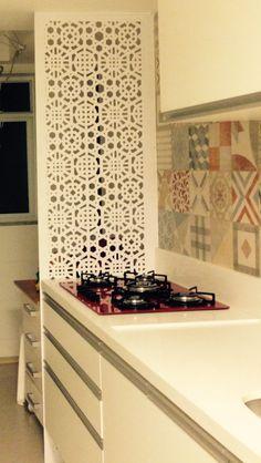 Divisória cozinha e lavanderia em PVC branco vazado, pratico e lindo