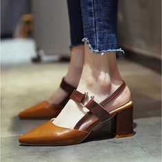 Summer Pumps Women Fashion Pointed Toe High Chunky Heels. Chunky Sandals, Chunky Heels, Women's Pumps, Toe, Flats, Womens Fashion, Summer, Thick Heels, Loafers & Slip Ons