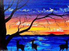 Serene Escape By Cinnamon Cooney The Art Sherpa as a Fully guided art lesson for Hart Party on youtube. Free online home painting party https://www.youtube.com/user/HoneyBmama #artlesson #theartsherpa #hartparty #easyart #paintingparty #art #diy
