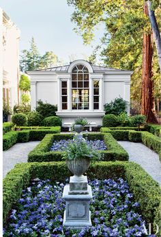 A boxwood parterre is planted with violas and petunias on the grounds of a California residence landscaped by Elizabeth Everdell Garden Design.